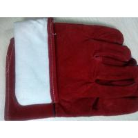 "Quality 12"" 14"" 16"" Red Cowhide Split Leather Welding Gloves gantlet protective welder full lining for sale"