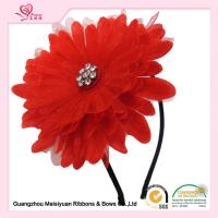 Quality 10cm Large Red Sun Flower Girl Headband For Birthday Present / Holiday / Party Celebration for sale