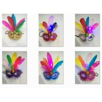 Wholesale Halloween Christmas Venetian Carnival Half Face Feather LED Light Party Mask from china suppliers