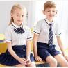 Kids British Kindergarten Primary School Uniform White Short Sleeve Shirt Sets for sale
