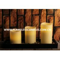 Wholesale Flameless LED Pillar Candles Set With Rock And Wooden Tray from china suppliers