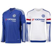 Wholesale FC Chelsea Home long sleeve soccer t shirts, 15 -16 Blue White Soccer Jersey from china suppliers