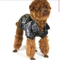 Quality Big Small Personalized Pet Dog Clothes Leather Jacket Brown , Black Color For Winter for sale
