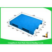 Wholesale 1200 * 800mm Blue Plastic Pallets With Three Runners , Plastic Skids Pallets Virgin HDPE from china suppliers