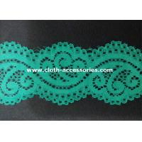 China Embroidery Mint Green Nylon Lace Fabric Dress Double Sided With Customer Logo on sale
