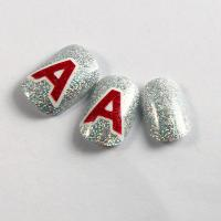 Wholesale Cute Printing Fake Fingernails Art Noble Red Silver Glitter Nails With English Letters from china suppliers