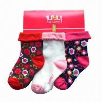 Quality Children's/Kids' Socks, Made of Cotton, Spandex and Jacquard Knitting  for sale