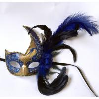 """China Colombina Plastic mask with ostrich feather     13"""" PF0803R GOLD on sale"""