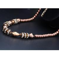 Wholesale Five Crystal / Diamond And Costume Imitation Pearl Necklace Beaded Single Strand from china suppliers