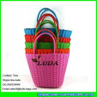 Wholesale LUDA candy color straw basket bag cheap gift pp straw beach bag from china suppliers