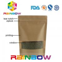 Wholesale Brown Kraft Paper Customized Paper Bags Doypack Ziplock Dry Food Packaging Bag With Window from china suppliers