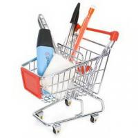 Wholesale Retail Shop Equipment heavy duty shopping cart with red plastic advertisement board from china suppliers