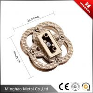 Quality Unique design round four-ring overlapping handbag turn lock,zinc alloy quarter turn lock 40mm for sale