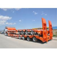 Quality 3 Axles Low Bed Semi Trailers For Heavy Equipment / Excavator Transportation for sale