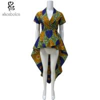 Wholesale OEM Service Mixed Color Ankara African Print Tops Short Sleeve High Low Style from china suppliers