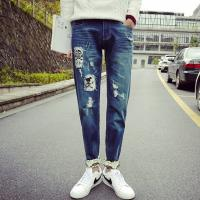 Printed Flowers Womens Slim Straight Leg Jeans Middle Rise Stone Washed