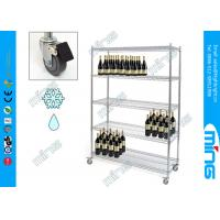 Wholesale 4 Tier Chrome Mobile Wire Shelving Wine Rolling Shelving with Brake Wheels from china suppliers