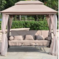 Buy cheap Luxury Two Function Three Seat Outdoor Gazebo Swing Chair Bed outdoor furniture with mosquito net from wholesalers
