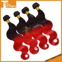 Wholesale 18inch 5A Ombre Hair Two Tone 1B/RED Indian Body Wave Human Hair Extension from china suppliers