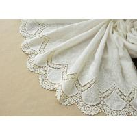 Wholesale Customized Embroidery Cotton Lace Fabric By The Yard For Dress Cloth Off White Color from china suppliers