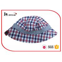 China Reversible Fishing Bucket Hat , Check And Herringbone Fisherman Hat With Button on sale