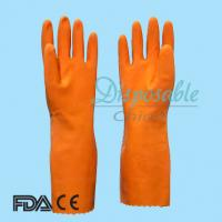 Wholesale Spray flockline orange household latex glove from china suppliers