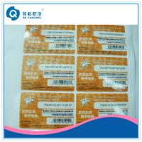 Wholesale Die Cut Vinyl Stickers For Bottle , Anti-Counterfeit A4 Self Adhesive Labels from china suppliers