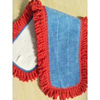 Wholesale 450gsm Blue Twisted Red Tassels Microfiber Wet Mop Pads Environment Friendly from china suppliers