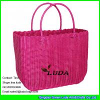 Wholesale LUDA simple pp straw net gfits bag beautiful pp women bag checked straw bag from china suppliers