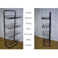 Steel 4 Shelves Metal Floor Stand  / Single Side Wire Basket Display Stand Against Wall