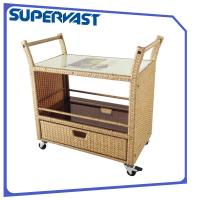 Wholesale Steel Outdoor Garden Resin Wicker Patio Furniture Dining Trolley PE Rattan Serving Cart from china suppliers