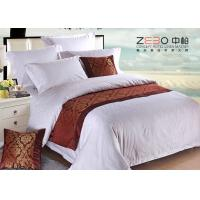 Ripple Satin Design Hotel White Bed Linen 100 Cotton OEM / ODM Available