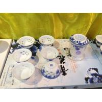 Wholesale Graceful hollow Lithe and pierced wonderful engraving tea sets blue and white porcelain from china suppliers