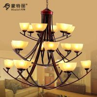 Wholesale For Villas Large Hotel Chandeliers 3 Layers 18 Heads Cream Shade Downwards from china suppliers