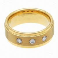 Wholesale Tungsten Ring, Gold Plating Tungsten Carbide Ring with CZ Stone, Gold Wedding Ring, PayPal Accepted from china suppliers