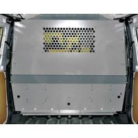 A perforated metal mesh partition with grey powder coated surface and some holes on the top part of the partition.