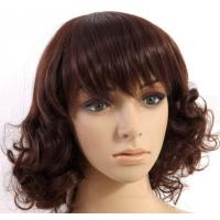Wholesale Short Curly Synthetic Hair Wigs , 6A Synthetic Curly Wigs Darker Brown from china suppliers