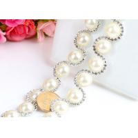 Wholesale diamond fancy cup chain Pearl chain wedding dress rhinestone chain accessory from china suppliers