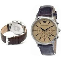 Wholesale Wholesale New Emporio Armani AR2433 Brown Leather Amber Crystal Classic Men's Watch from china suppliers