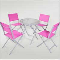 Wholesale outdoor iron sling textilene mesh fabric folding armless chair and table garden furniture from china suppliers