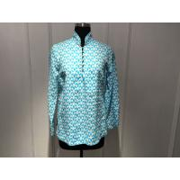 China Silk Printed Loose Ladies Tops Blouses Long Sleeve Stand Collar with Special Buttons on sale