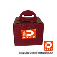 Wholesale Recycled Cardboard 6 Inch Cake Packaging Boxes , Red Handmade Cake Box With Handle from china suppliers