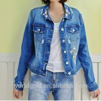 Wholesale Fancy Distressed Stretch Embroidered Denim Jacket For Womens Fashion Design from china suppliers