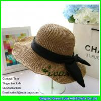 Wholesale LDMZ-005 light brown paper straw crochet beach hats from china suppliers