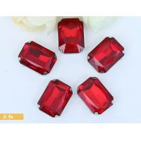 Buy cheap rhinestone sew on settings with siam rhinestone rectangle 10*14mm from wholesalers