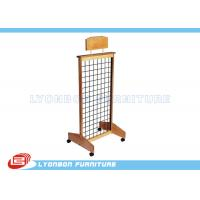 Wholesale Mobile MDF Natural Wooden Display Stands With Casters , Customize LOGO Sticker from china suppliers