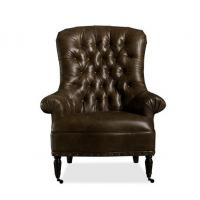 Wholesale Top Leather Tufted Back Occasional brown living room chair for sitting , make up from china suppliers