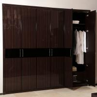 Wholesale High Gloss Fitted Black Walk In Closet Cabinets / Wardrobes Simple Design Drawings from china suppliers