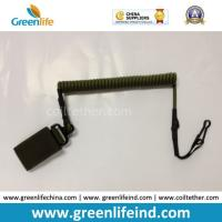 Wholesale Combat-Green Tactical Pistol Hand Gun Elastic Spring Coiled Lanyard Leash from china suppliers
