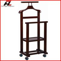 Wholesale Dual Rail Wood Mobile Clothes Valet Stand with Four Castors from china suppliers